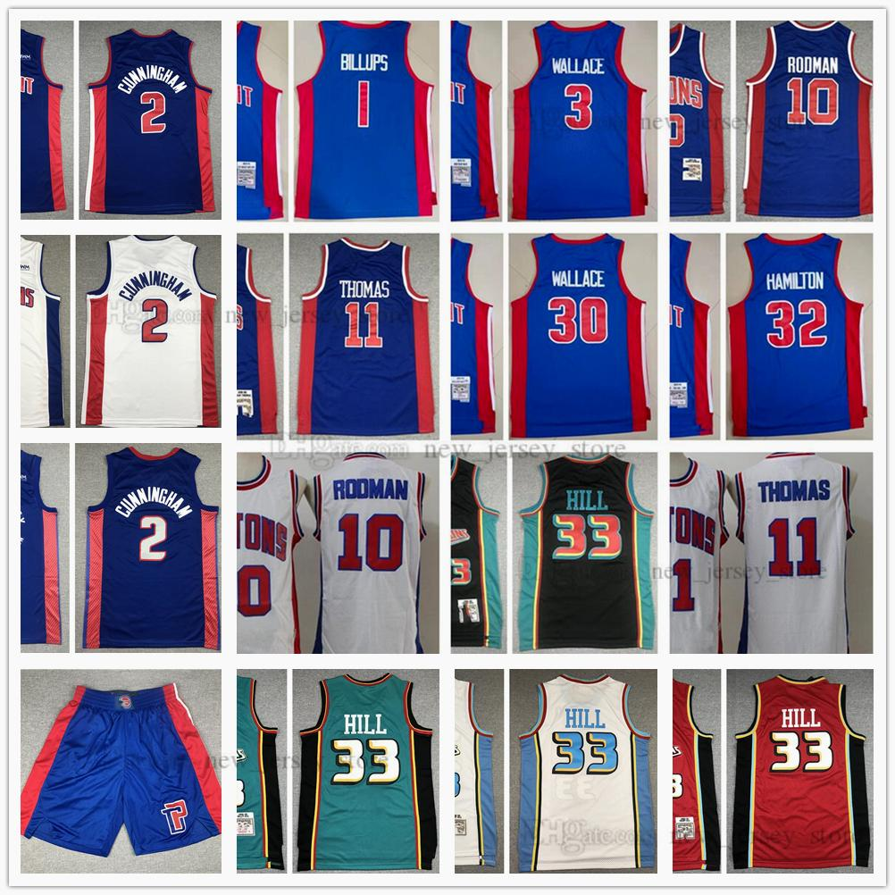 Cosido 2021 Draft Pick BarkeBall Cade 2 Cunningham Jersey Retro Dennis 33 Grant Rodman Hill 3 Ben 30 Rasheed Wallace 32 Richard 1 Chauncey Hamilton Billups 03-04 98-99