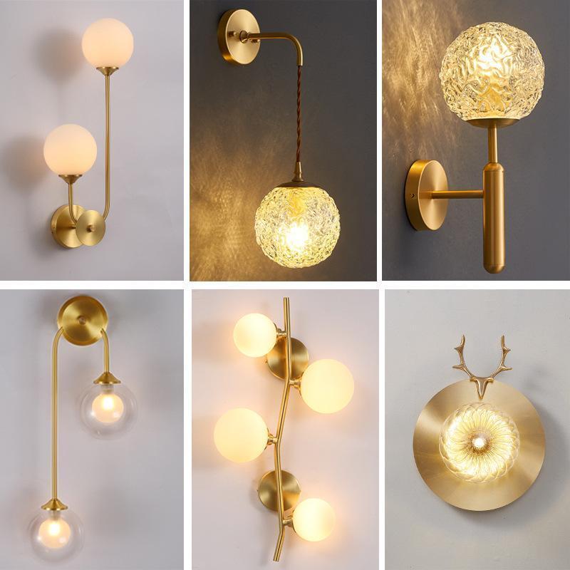 북유럽 LED 유리 공 Arandela 벽 빛 Aplique 루즈 파드 침실 램프 광택 룸 램프 램프