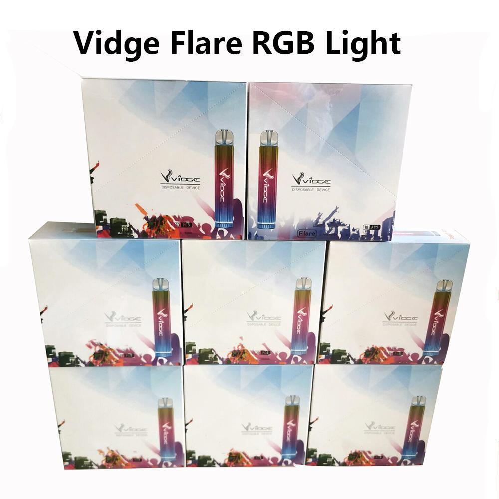 Otantik Vidge Flare Tek Kullanımlık Vapes E-Sigaralar Cihazı 500 mAl Pil 800 Puffs 3 ml Pod Önceden Dolgulu Pods RGB Işık Taşınabilir Buhar Vape 6%