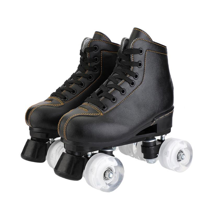 PU-Leder Rollschuhe Beleuchtung Doppelzimmer Frauen Männer Erwachsene Zwei Skate-Schuhe Patines mit 4 Rädern Patins Inline
