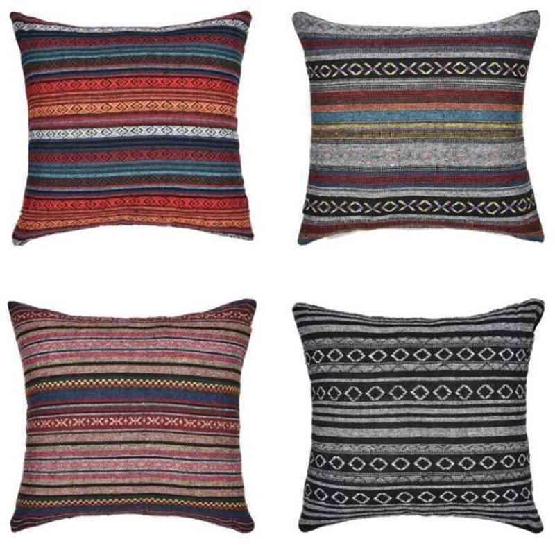 Bohemia Pillow Case Striped Pillow Cover Retro Ethnic Throw Cushion Cover Home Sofa Pillow Cases Square Car Decorative Bedroom Decor C6987