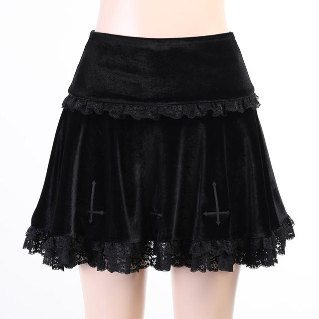 Women's Velvet Pleated Mini Skirts, Gothic high waist lace skirt, retro Harajuku style, sexy