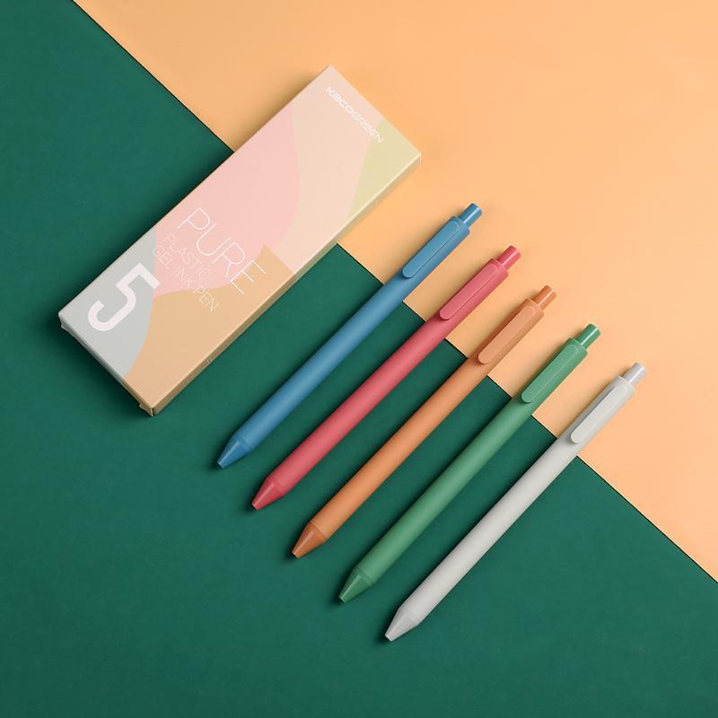 5 pcs / set 0.5mm cor retrô simples clipe gel caneta criativo modelar liso neutro kawaii escola fontes chinsese estilo canetas