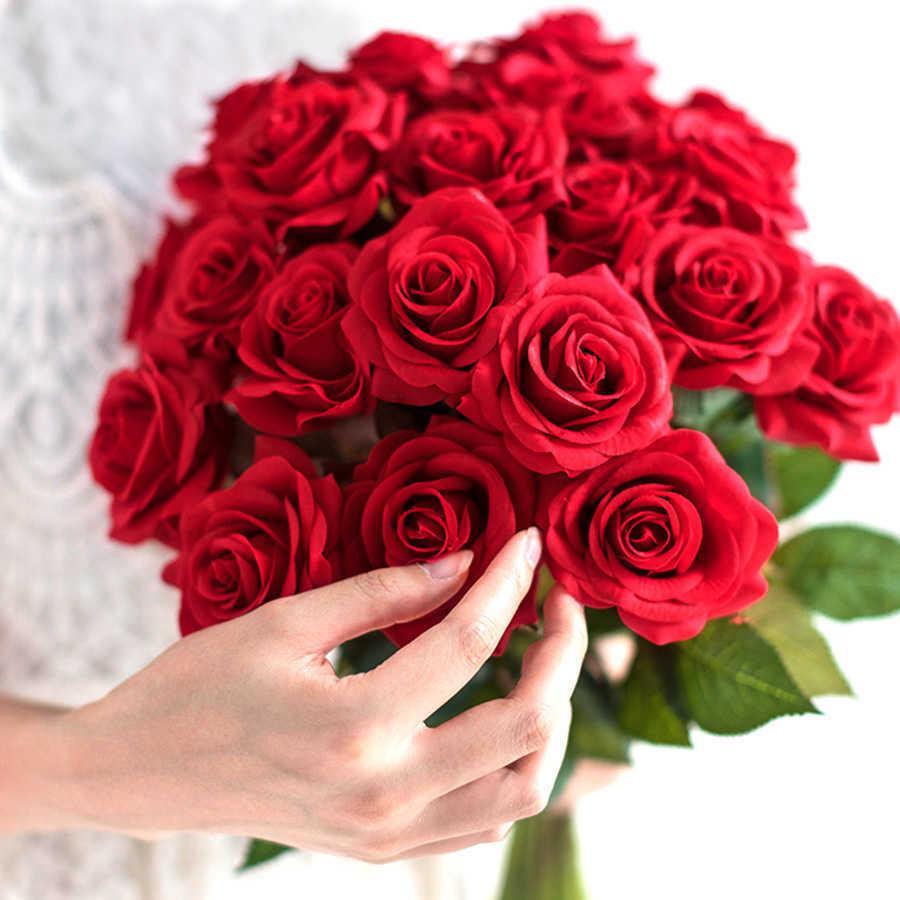 10 PCS Lot Red Rose 인공 꽃 진짜 터치 라텍스 꽃 가짜 실리콘 가짜 꽃다발 장식 가정 결혼식 파티