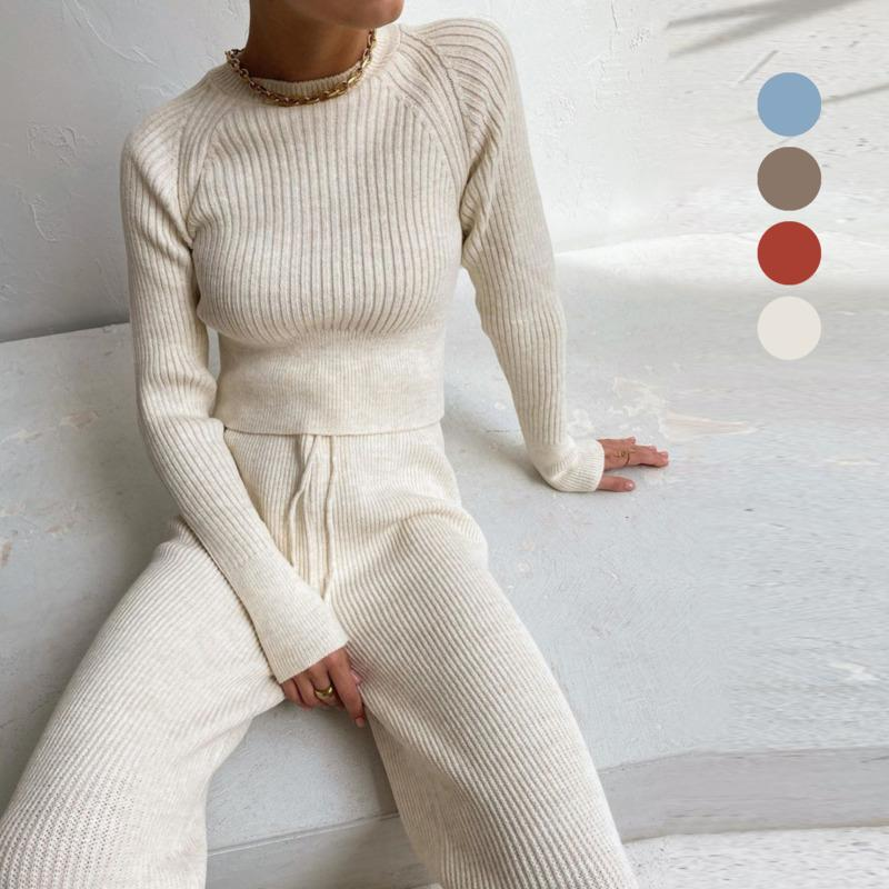 2021 Womens Knitted Sweater Solid Color Round Neck Long Sleeve Outfits Y2K Casual Striped Suit Warm Two Piece Sets Tracksuit