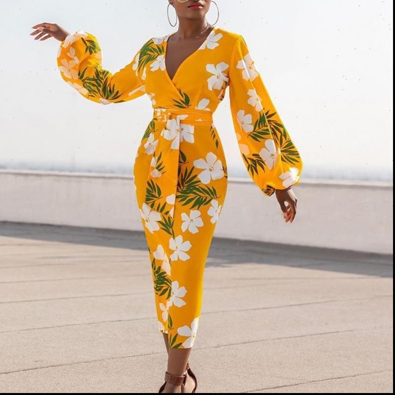 Giallo stampato con scollo a V bianco Dress Dress Flower Long Lantern Sleeve Bodycon High Waist Donne Vestidos Ladies Plus Size XL
