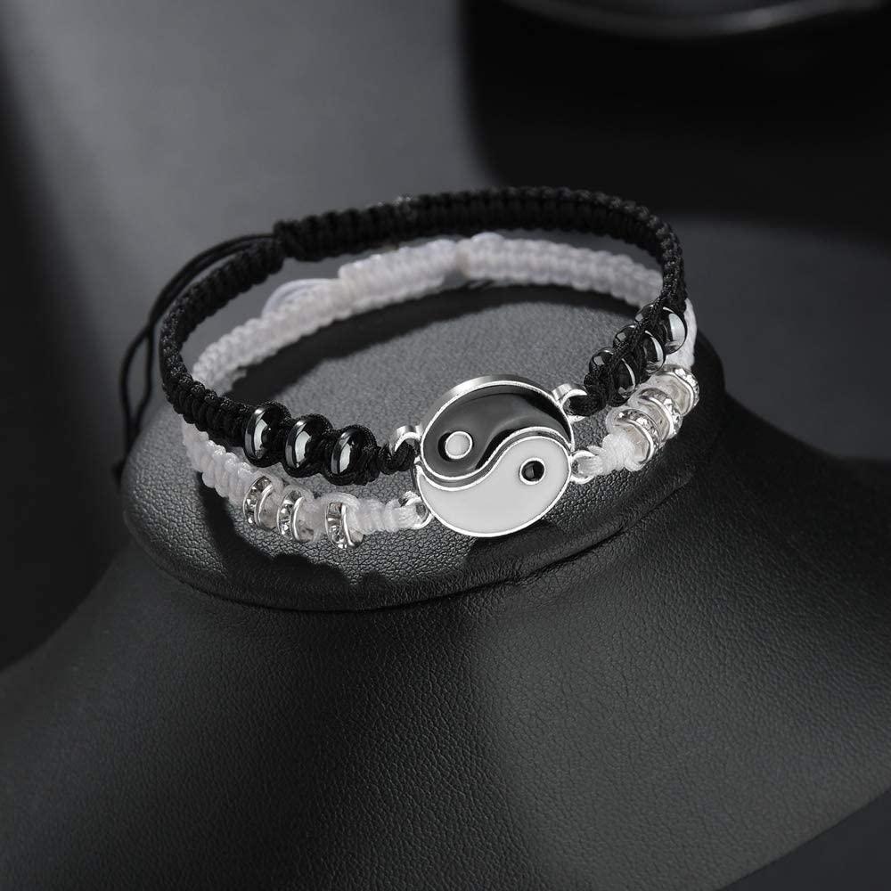 En iyi arkadaş bilezik 1 çift yin yang ayarlanabilir halat bilezik dostluk için uygun erkek arkadaşı kız arkadaşı sevgililer günü hediyesi