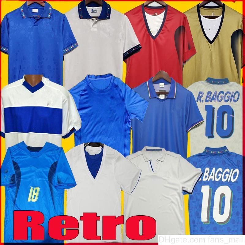 Italia Retro Jersey 2000 2002 2006 1990 1999 Italia Retro Soccer Jersey 1986 1994 Maldini Baggio Donadoni Totti del Piero Camicie da calcio
