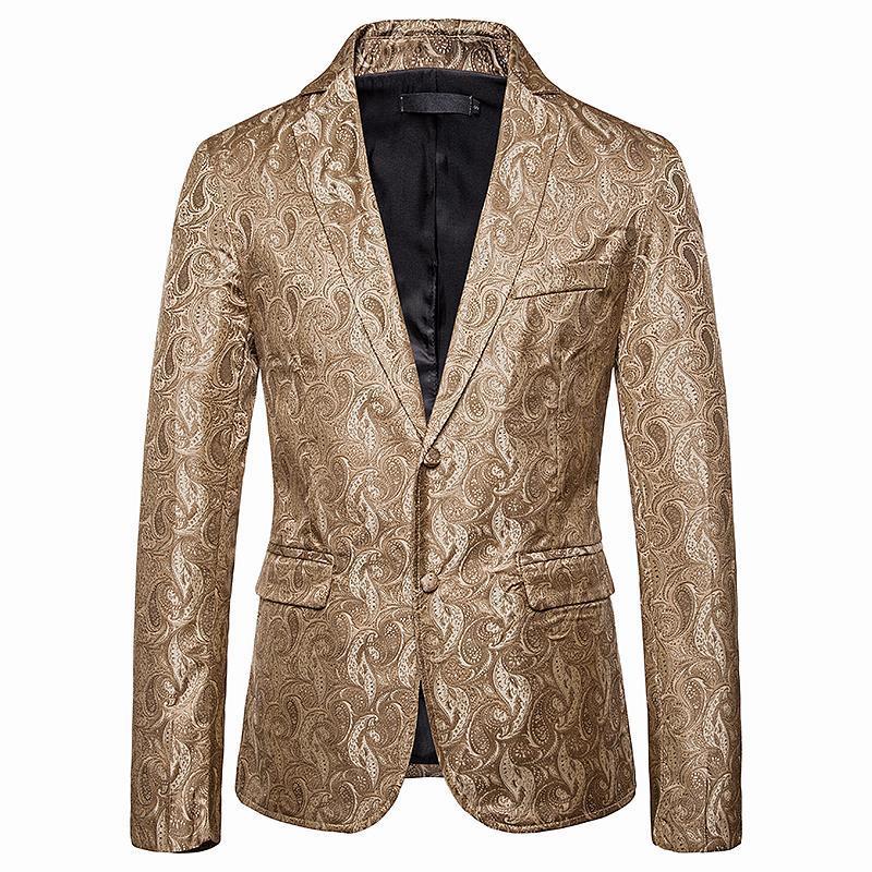 Men's Suits & Blazers Print Slim Fit Blazer Royal Blue Black Promo For Men Stylish Business Casual Party Wedding Suit Coat