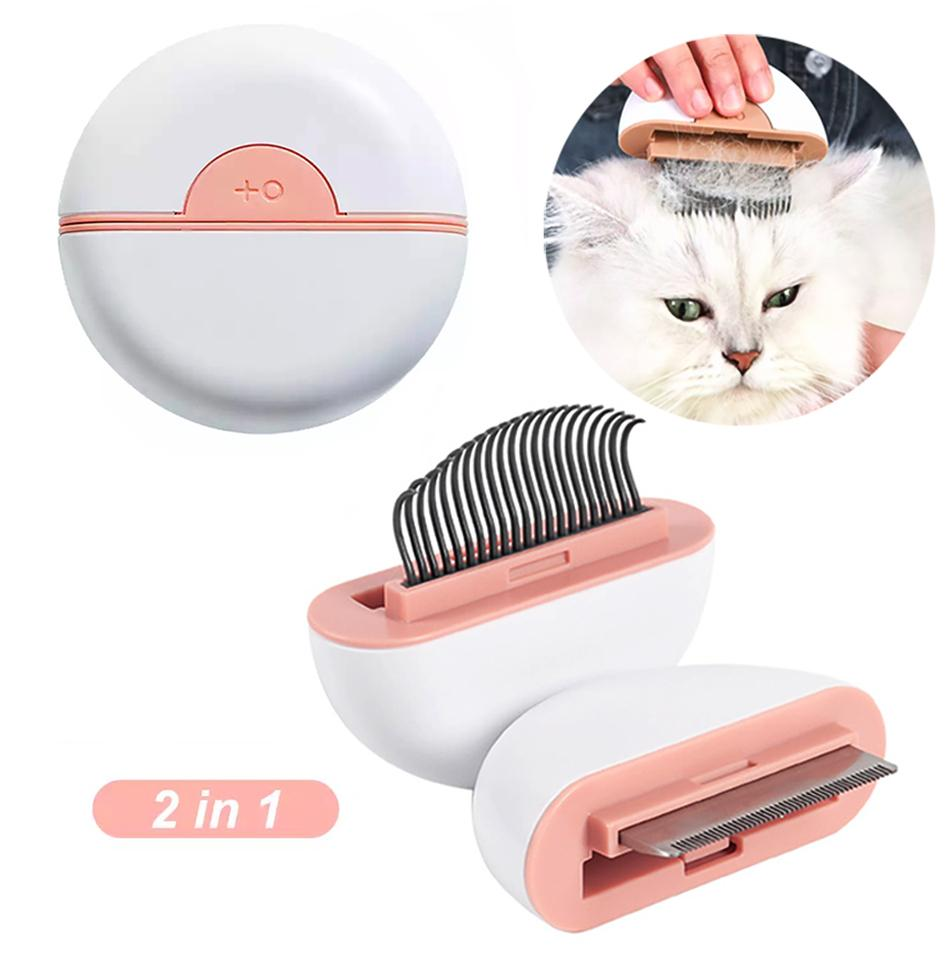 2 in 1 Pet Comb Cat Dog Grooming Double-headed 2 Usages Short-hair Long-hair Itching Massage Floating Hair Knotted Hair Remove