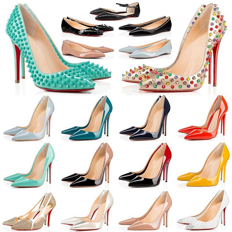 2021 Talons de fond rouge avec boîte Sac à poussière Femmes robe chaussures ronds pointus pointues de fond pointe vintage talons hauts luxuriers baskets