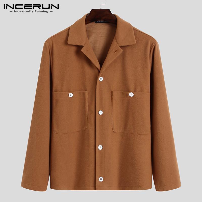 남성 셔츠 가짜 양털 긴 소매 옷깃 주머니 캐주얼 셔츠 빈티지 솔리드 컬러 Camisas Hombre Streetwear Incerun S-5XL 7 남자