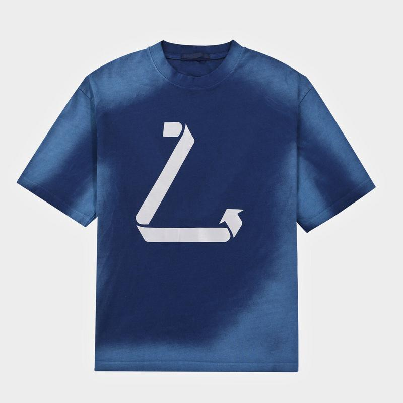 유럽 파리 환경 보호 반사 로고 넥타이 염료 T 셔츠 봄 여름 패션 망 짧은 소매 씻어 Tshirt 여성 의류 캐주얼 코튼 티