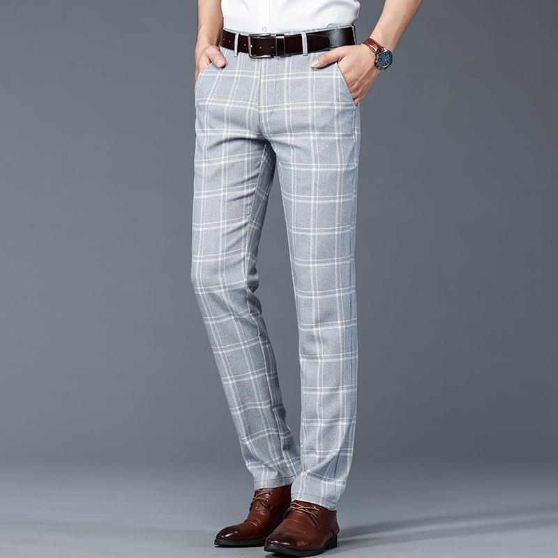 Men's Pants 2021 Spring Summer Straight Slim Casual Trousers Trend Black Plaid Men 5 Color Fashion Streetwear Clothing