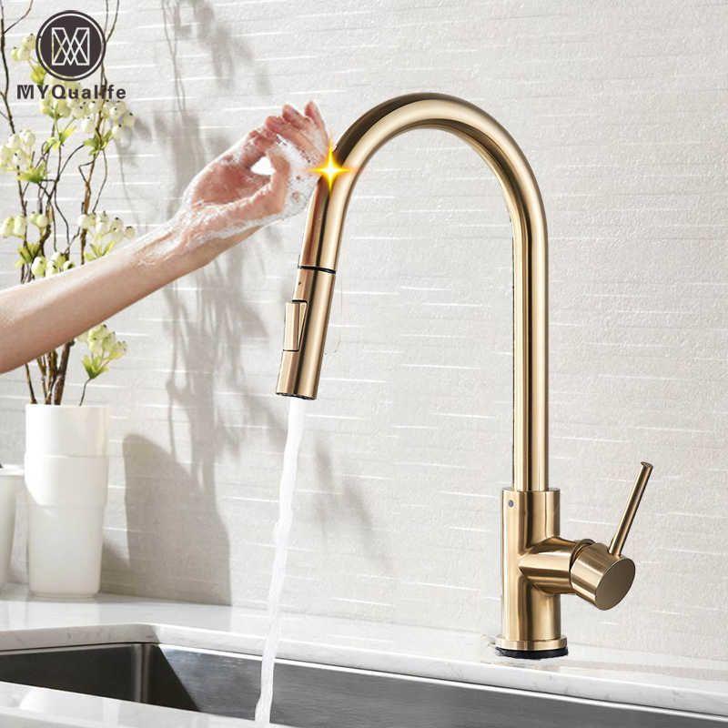 Retire o sensor torneira de cozinha escovado ouro sensível toque controle torneira misturador para cozinha toque sensor cozinha misturador torneira 210724