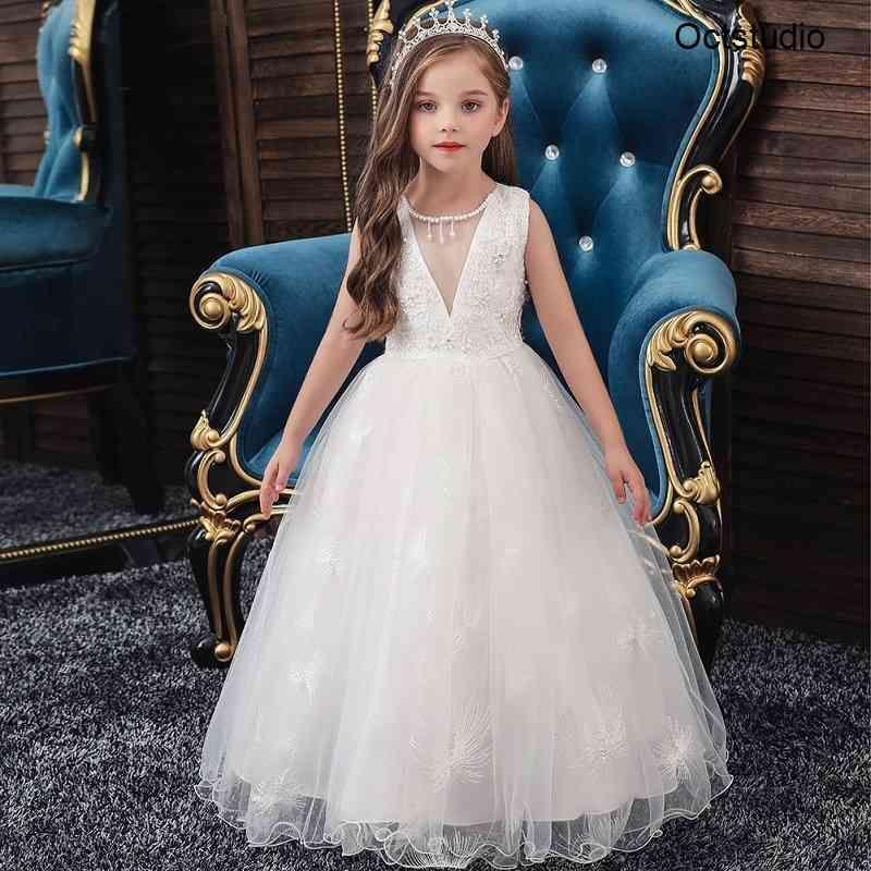 Abiti da ragazze di fiori per il merletto di nozze Bambini Bambini Baby Birthdays Sera Princess Party Dress Bianco