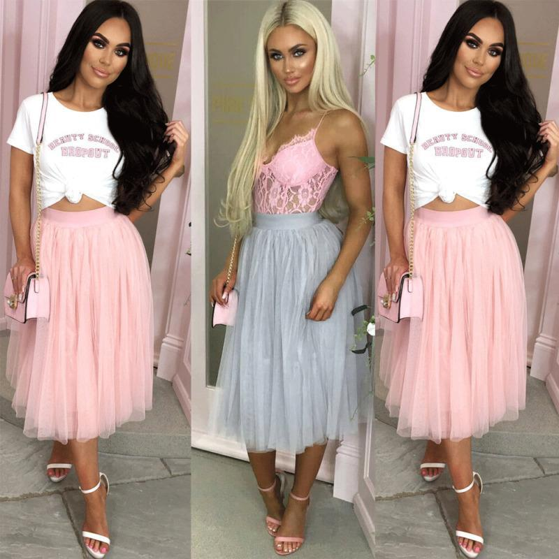Skirts 2021 Fahsion Women Elastic High Waist Tulle Skirt Layered Pleated Maxi Long