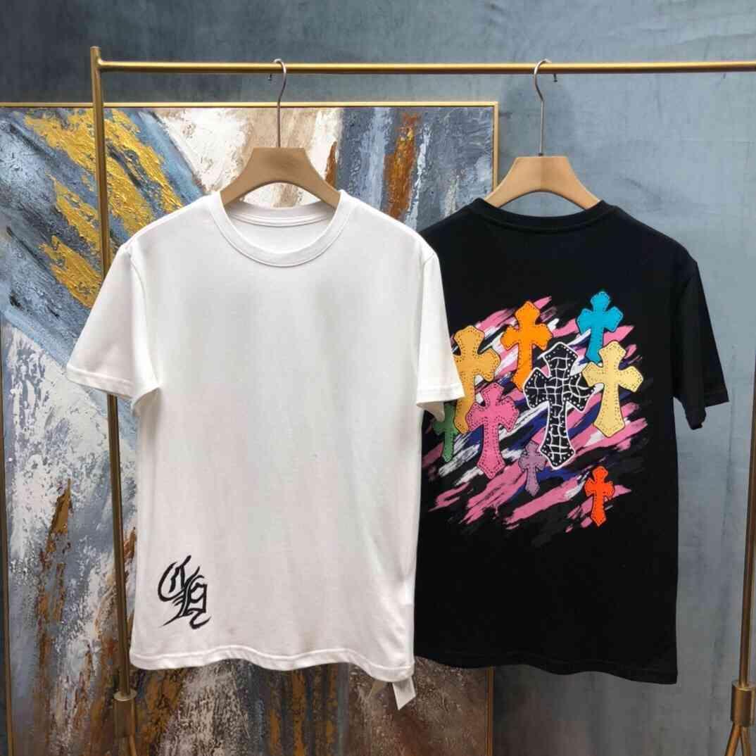 Kollu Kısa CH21 Renk Çapraz Yaz Sanskrrit Mektup Baskılı T-shirt erkek Üst Moda Çiftin Giyim R2W0