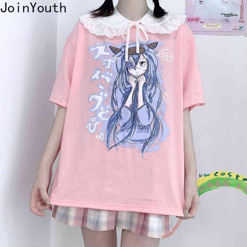 Femme T-shirts Été Japonais O Cou Sailoon Sailor Moon Prince Étudiants Courtes À Manches Top Femme Preppy Tops 210506