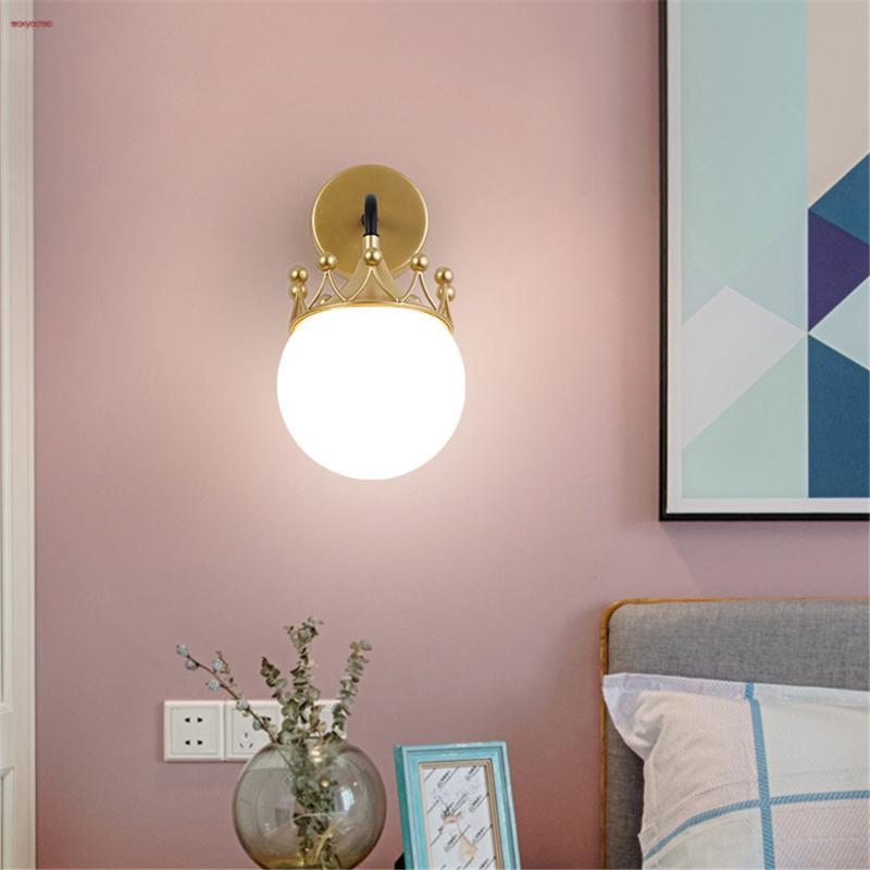 Nordic Ins Princess Bedside Crown Glass Ball Metal Led Wall Lamp Children'S Room Creative Corridor Sconce Kindergarten Lights