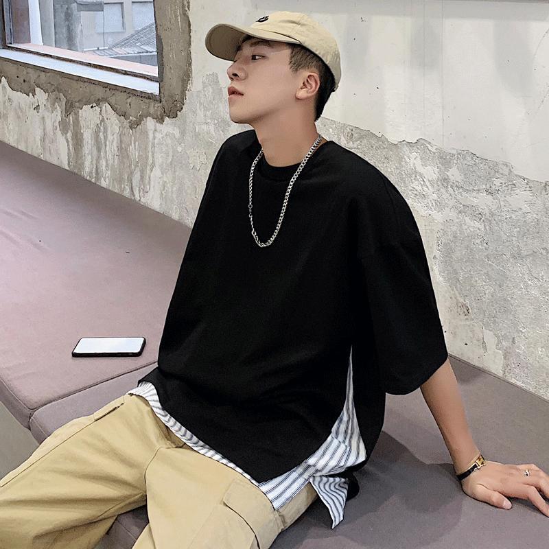 Yaz Moda Gençlik T Gömlek Rahat Eğilim Sahte İki Parçalı Yuvarlak Boyun Kısa Kollu Vahşi Gevşek Öğrenci Erkek Asya Boyutu