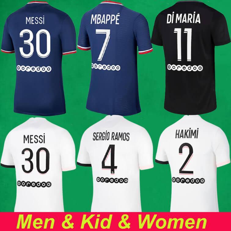 Messi Mbappe Hakimi Sergio Ramos Futebol Jerseys 21 22 Marquinhos Wijnaldum Maillots Camisa de Futebol 2021 2022 Homens + Kits Kits Mulheres Uniforme Enfants Maillot de pé