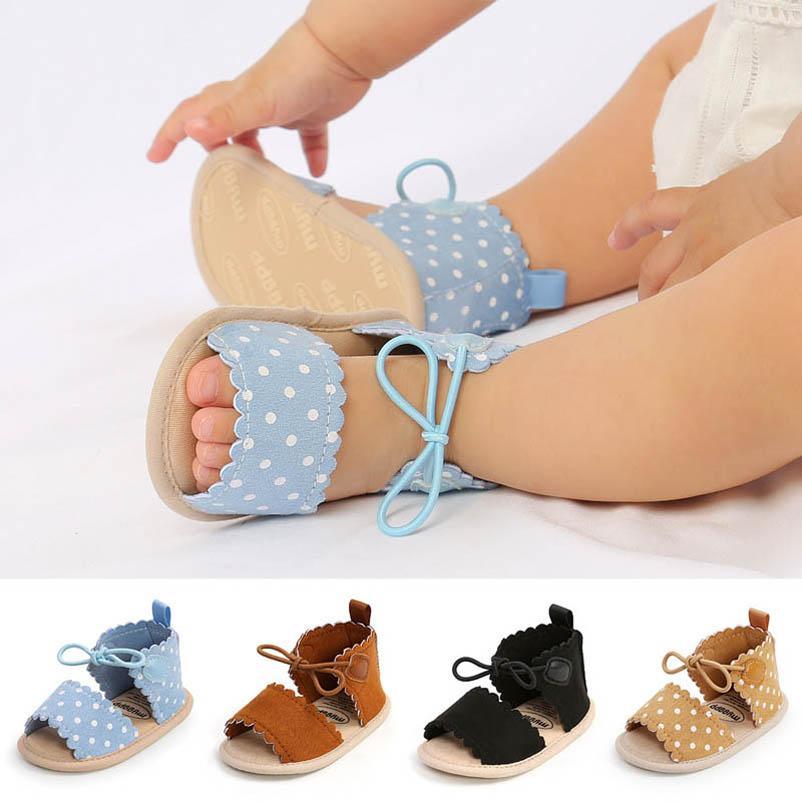 Baby First Walkers Shoes Toddler Girls Sandals Crown Headbands 2Pcs Sets Summer Polka Dot Infant Footwear Moccasins Soft B6927