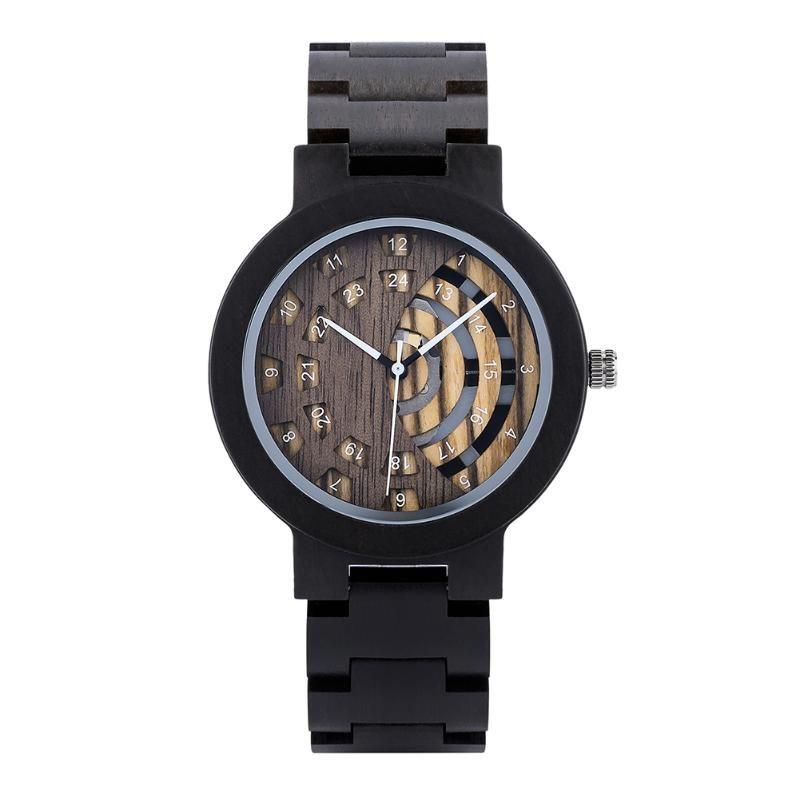 Saatı erkek Ahşap İzle 100% Doğal Abanoz Ahşap Kuvars Askı Ayarlanabilir 24 Saat Ekran Reloj Hombre Okumak Kolay