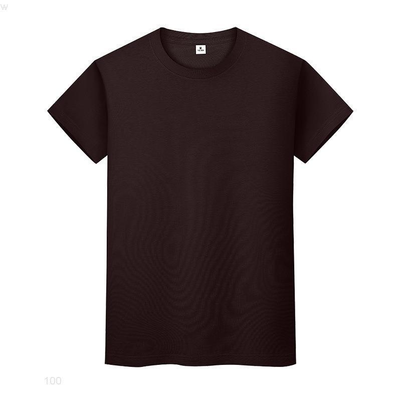 Yeni Yuvarlak Boyun Katı Renk T-shirt Yaz Pamuk Dip Gömlek Kısa Kollu Erkek ve Bayan Yarım Kollu TJM4iio
