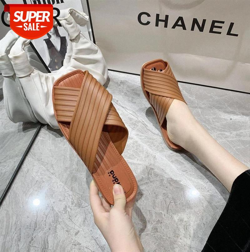 2020 sandals PU upper ladies cross strap slippersall in line with flip flops simple and comfortable slippers casual flat #qI5a