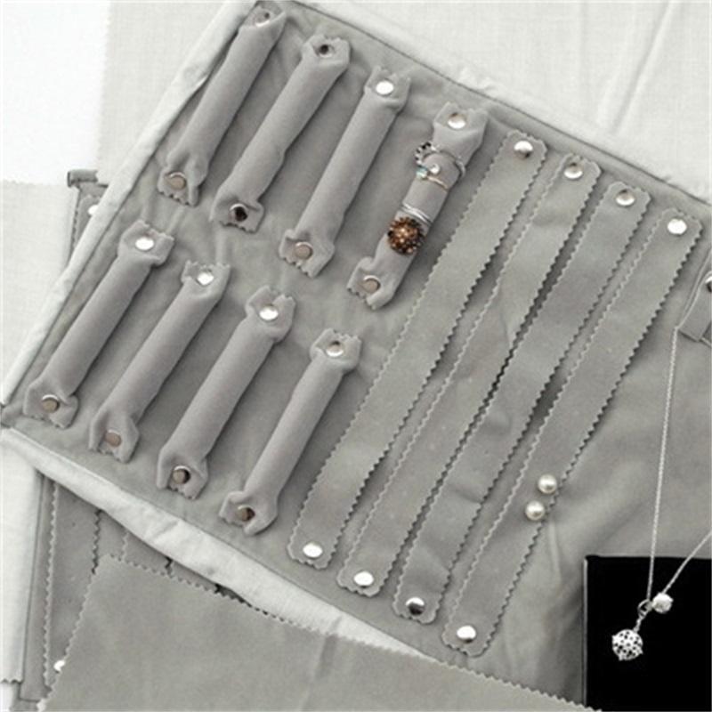 Borsa per il rotolo di gioielli per anello orecchini Organizzatore Gioielli Borse di stoccaggio Borse portatili Display a sospensione Casi Nero / Grigio Velvet 15 * 10cm 1109 Q2