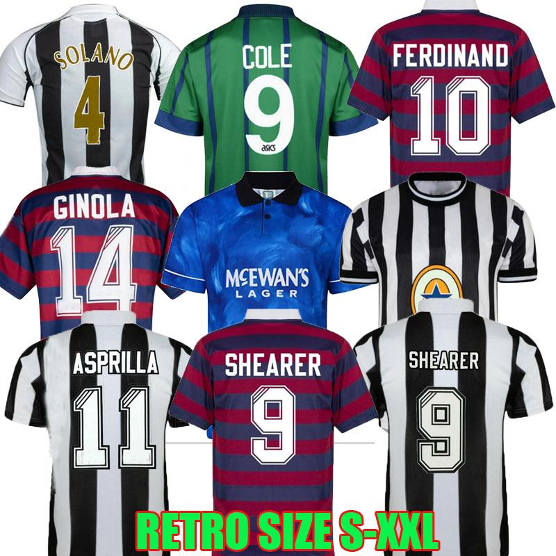 94 95 96 97 98 99 05 06 Shearer Retro Soccer Jerseys Newcastle Rossi Hamann Ginola Pinas 1984 1997 1997 1999 Cole Asprilla Ferdinand United Owen Classic Futebol Camisas