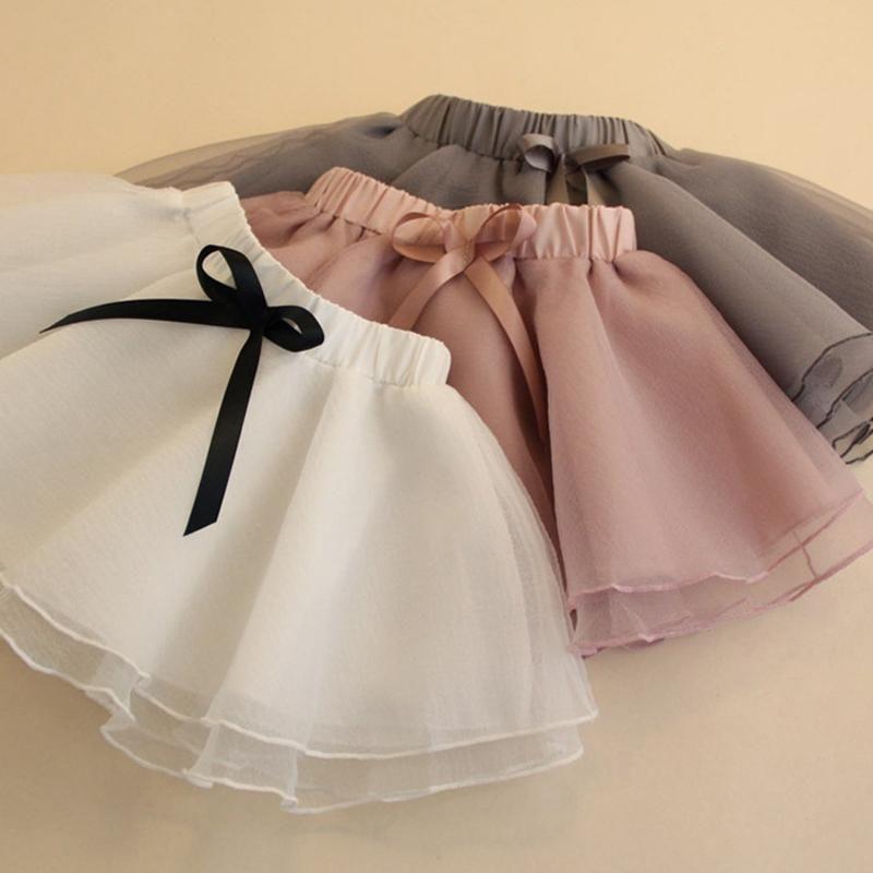 Bebek Kız Etekler Tutu Kabarık 1Y-6Y Çocuklar Balo Yay Bale Pettiskirts Etek Dans Partisi 4 Renkler.