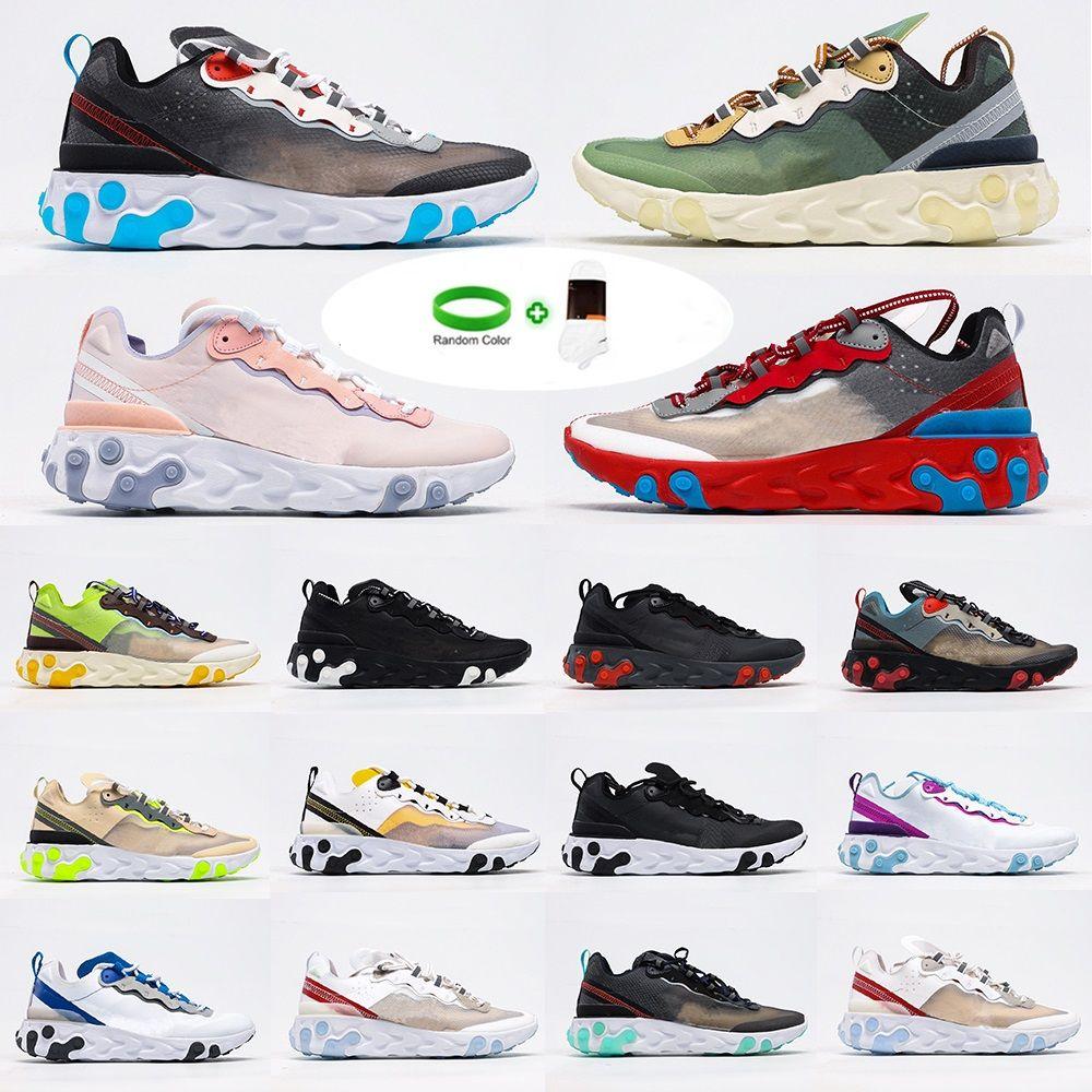 [Bilezik + çorap]Nike React Element 87 reaksiyonu görme koşu ayakkabıları erkek womens element 87 55 tenis zirvesi beyaz şematik siyah orewood gerçek spor ayakkabı açık olmak