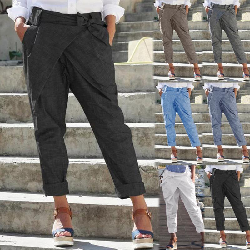 Erkek Pantolon 2021 Stil Kadın Moda Casual Gevşek Artı Boyutu Saf Renk Cep Bandaj Keten Pantolon Z817