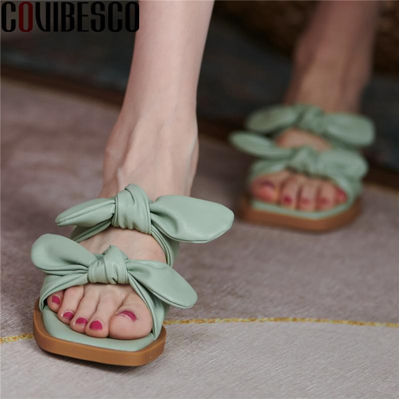 الصنادل covibesco 2021 المرأة الحلوة فراشة عقدة الصيف الكعوب المنخفضة عارضة أحذية مريحة امرأة النعال موجزة الأزياء
