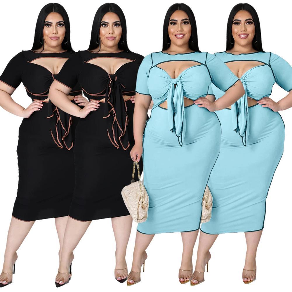 XL-5XL TAMAÑO PLUS BANDAGE DOS PIEZA Faldas Vestidos Vestidos de las mujeres Bow Tie Hollow Slim Fit Fit Top y Faldas largas flacas con los trajes a juego