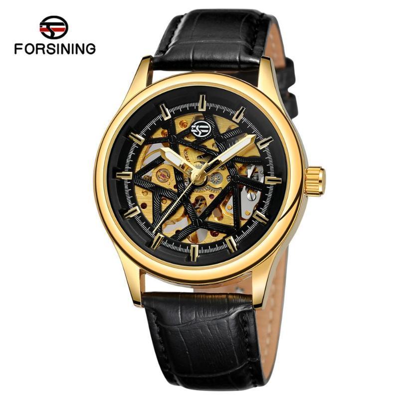 Armbanduhren 2021 Fassing Mode Montre Homme Skeleton Leder Armbanduhr Mechanische Bewegung Männer Watch Schwarz Goldenes 3D Literal Design