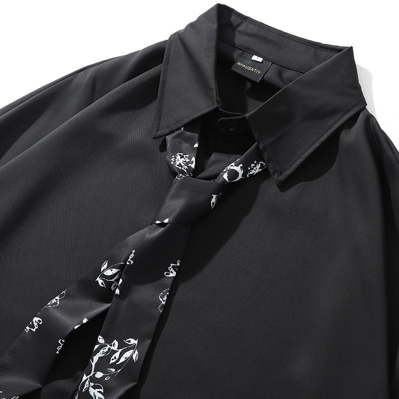 가을 일본어 디자인 감각 의류 남성 긴팔 유행 잘 생긴 홍콩 스타일 셔츠 캐주얼 셔츠