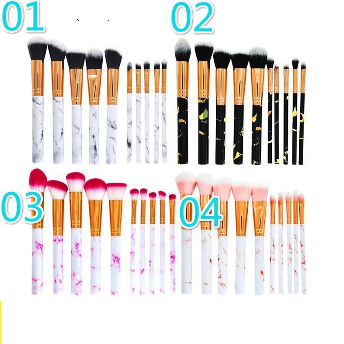 10pcs / Set Marble Maquillage Brosses Ensemble Blush Powder Poudre Eyebrow Sighter Bright Breaker Contour Foundation 4 styles en stock