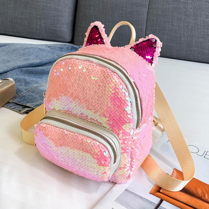 야외 가방 2021 패션 십대 소녀 귀여운 고양이 귀 장식 다채로운 배낭 지퍼 대용량 여행 여성의 어깨 가방