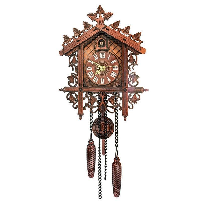 공예 쉽게 설치 수공예품 룸 스윙 벽 시계 액세서리 나무 뻐꾸기 장식 현대 가정 유럽 빈티지 스타일 시계