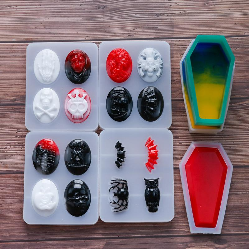 2021 diy 5styles Halloween skull crystal silicone molds can be used to make pendants