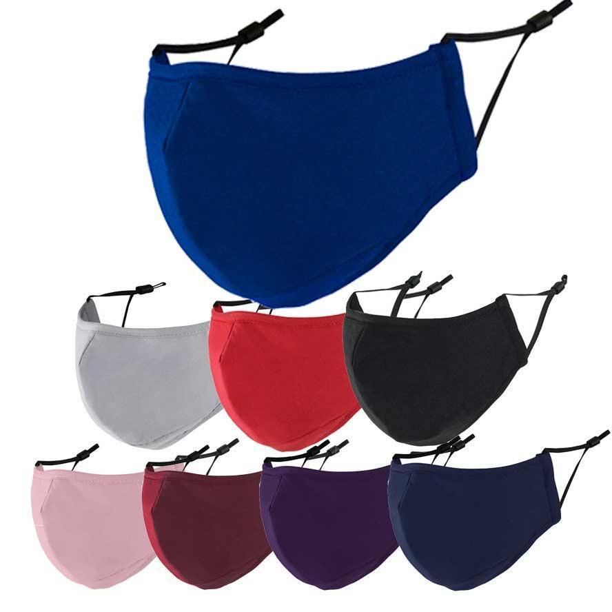 قناع الوجه 3- طبقة القطن مصممي الأزياء أقنعة الكبار تنفس أسود قابل للغسل المضادة للضباب PM 2.5 FaceMask for Men Women Audlts