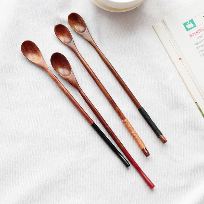 Spoons High Quality Wooden Large Long Handled Tea Spoon Coffee Soup Stirring Tableware