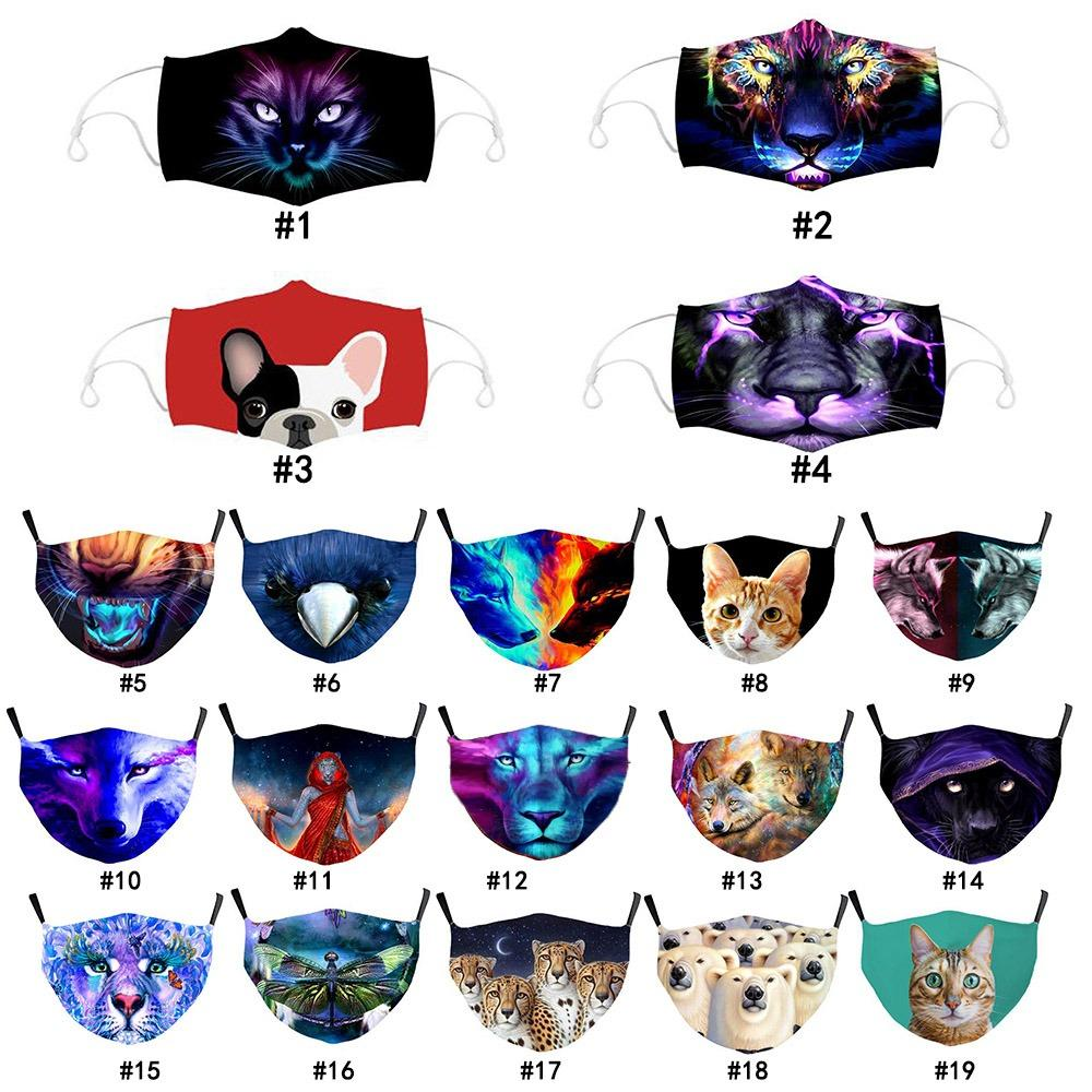 3D Animali Face Mask Cotton Reusable Face Masks Summer Out Door Sport Riding Masks Maschera di moda per adulti