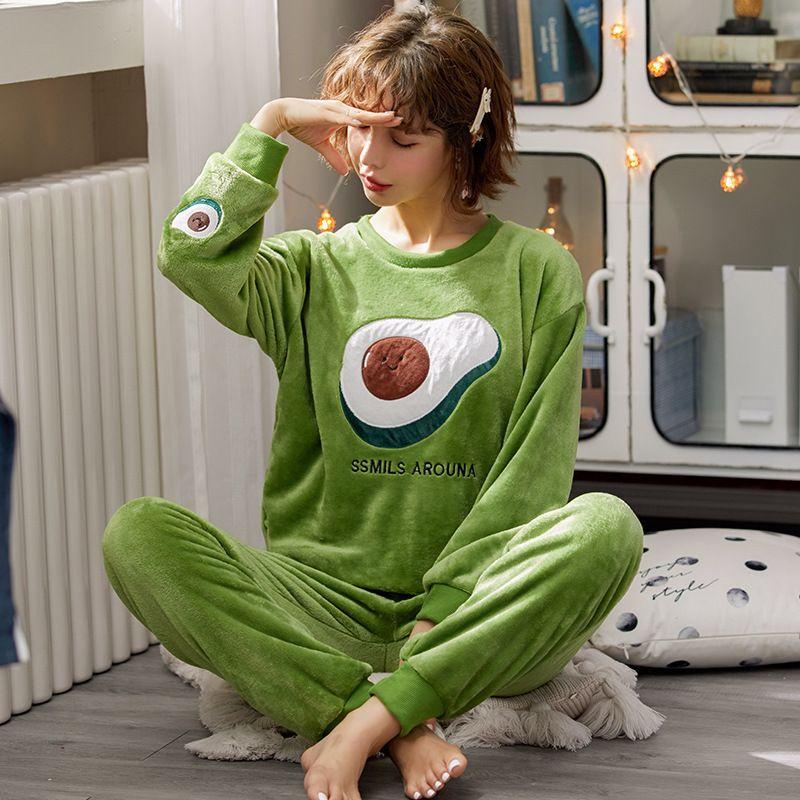 Melife invierno cálido avocado pijamas conjunto para mujeres 100% terciopelo verde franela de seda nightwear Atoff Home Satin Soft Peluche ropa de dormir