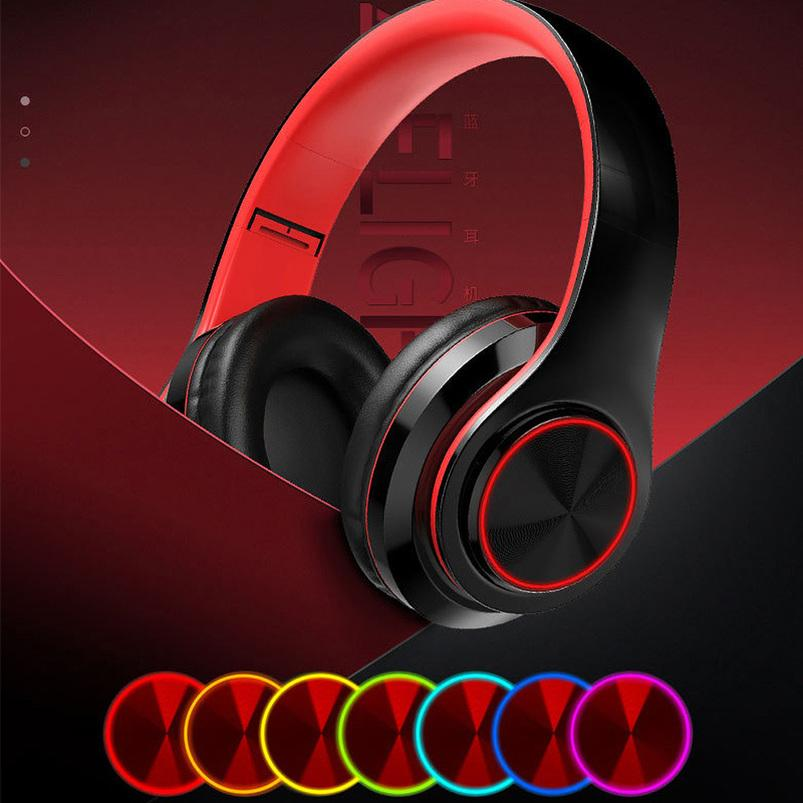 Lighting Wireless Headphones Strong Bass Stereo Bluetooth Headset Noise Cancelling Headphone Low Delay Earbuds for Gaming