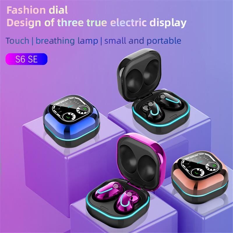 S6 SE TWS 블루투스 이어폰 마이크 스포츠 이어 버드가있는 무선 헤드폰 LED 디스플레이 이어폰 HIFI