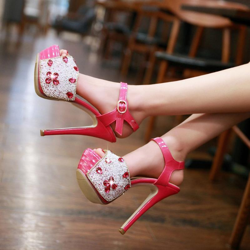 doratasia 2021 sandals dropship sexy extreme high heels platform women's shoes crystals party wedding summer woman